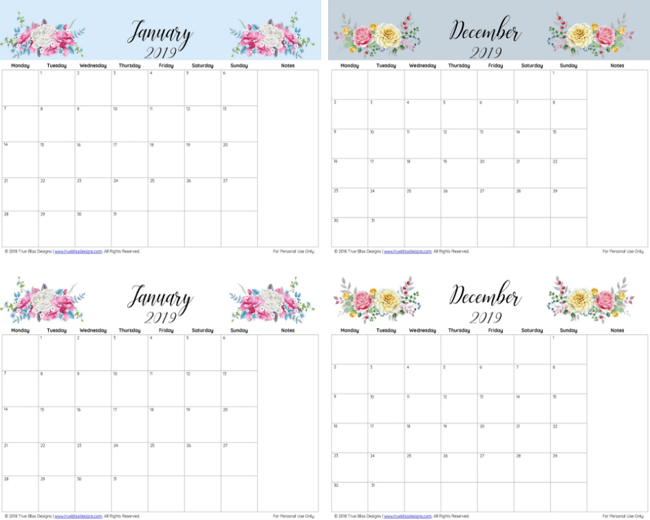 Get organised with this free 2019 floral calendar. Each month has a different watercolour design and is available in Letter, A4 and A5 size. For more freebies, visit www.trueblissdesigns.com.