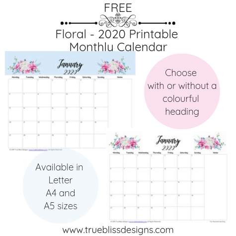 Get organised with this free 2020 floral calendar. Each month has a different watercolour design and is available in Letter, A4 and A5 size. For more freebies, visit www.trueblissdesigns.com.