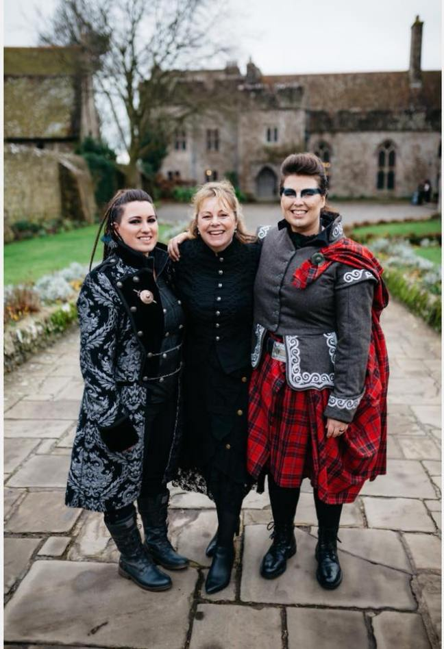 alternative wedding celebrant scottish medieval handfasting ceremony wedding castle kent two brides same sex marriage polly sky lympne castle kent
