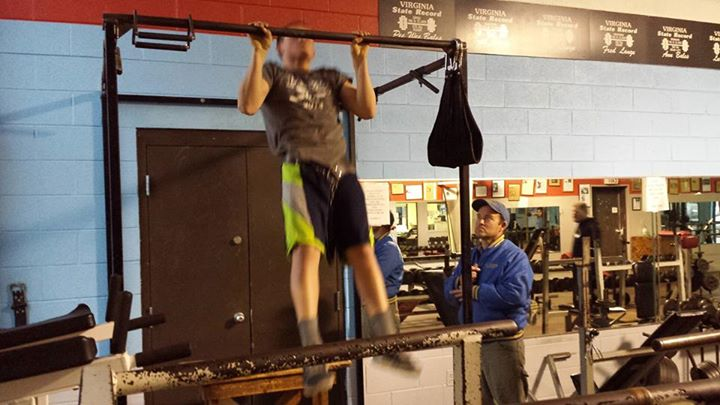 Andy & his Father Keith Aldridge working out at Mike's Olympic Gym