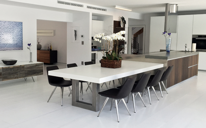 kitchen and dining room tables base cabinet depth custom concrete trueform