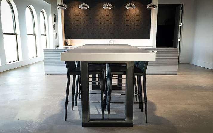 kitchen dining tables garbage can cabinet custom concrete trueform