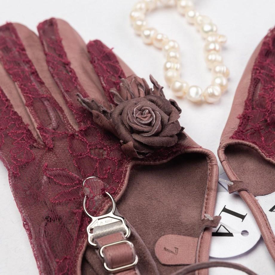 Karmen Schafsleder und Chantillyspitze Handschuhe burgund