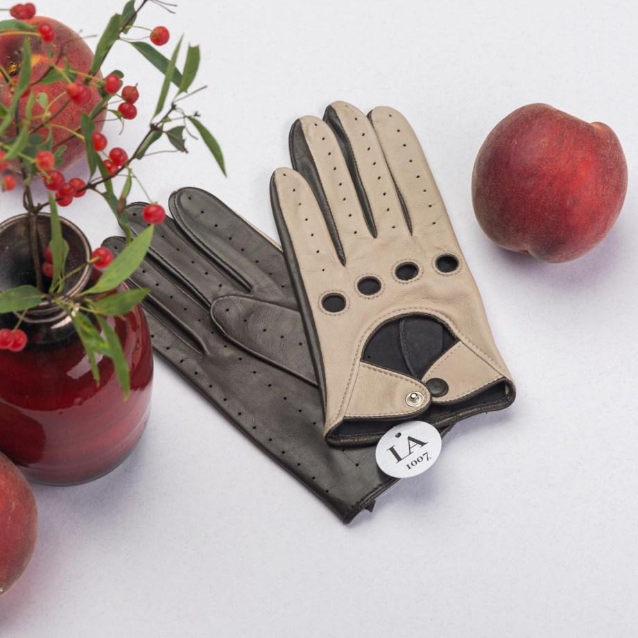 Verdi Schafsleder Autofahrer-Handschuhe Beige