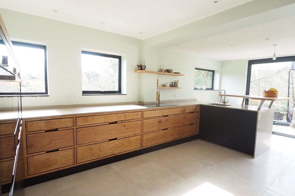 wenge wood kitchen cabinets faucet pull down recent handleless projects - true kitchens.co.uk