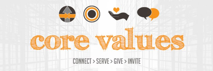 True North Church's Core Values - Connect, Serve, Give, Invite