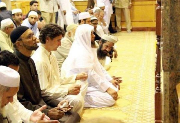 Image result for Trudeau at Mosque
