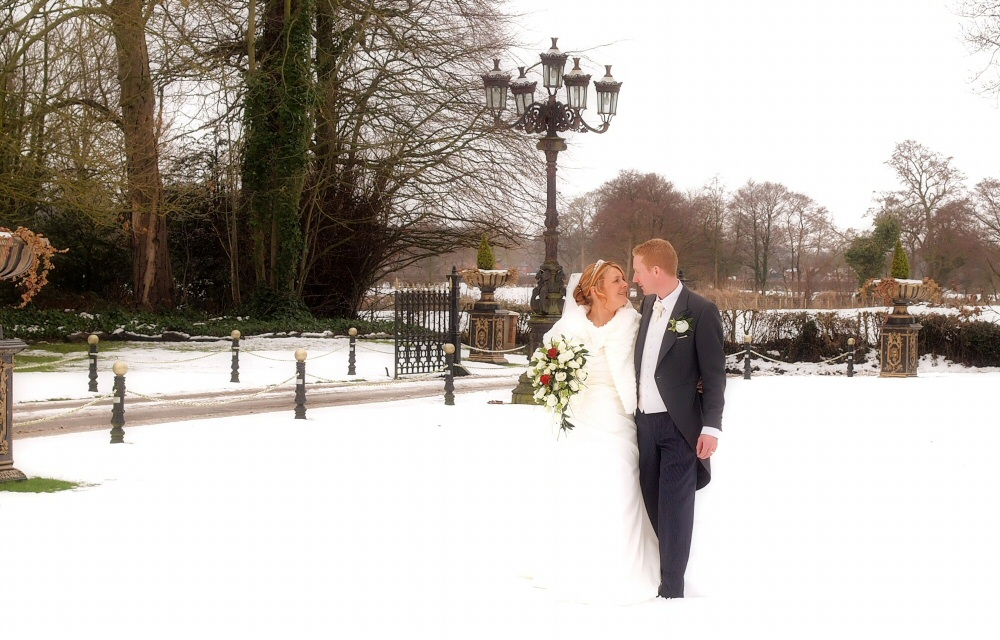 Snow Covered Grounds at Llyndir Hall Hotel Wedding