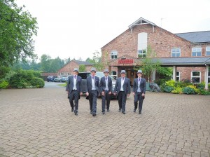 Great fun shot of the groomsmen at The Lion Quays