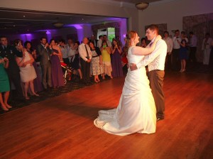 Guests enjoying the newly weds first dance