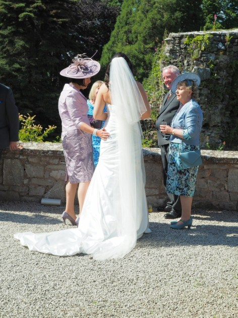 Bride chatting with her guests