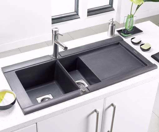 Geo 15 bowl black composite kitchen sink right handed