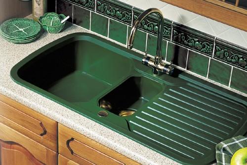 15 Bowl Green Sink With Brass Tap  Waste Rangemaster