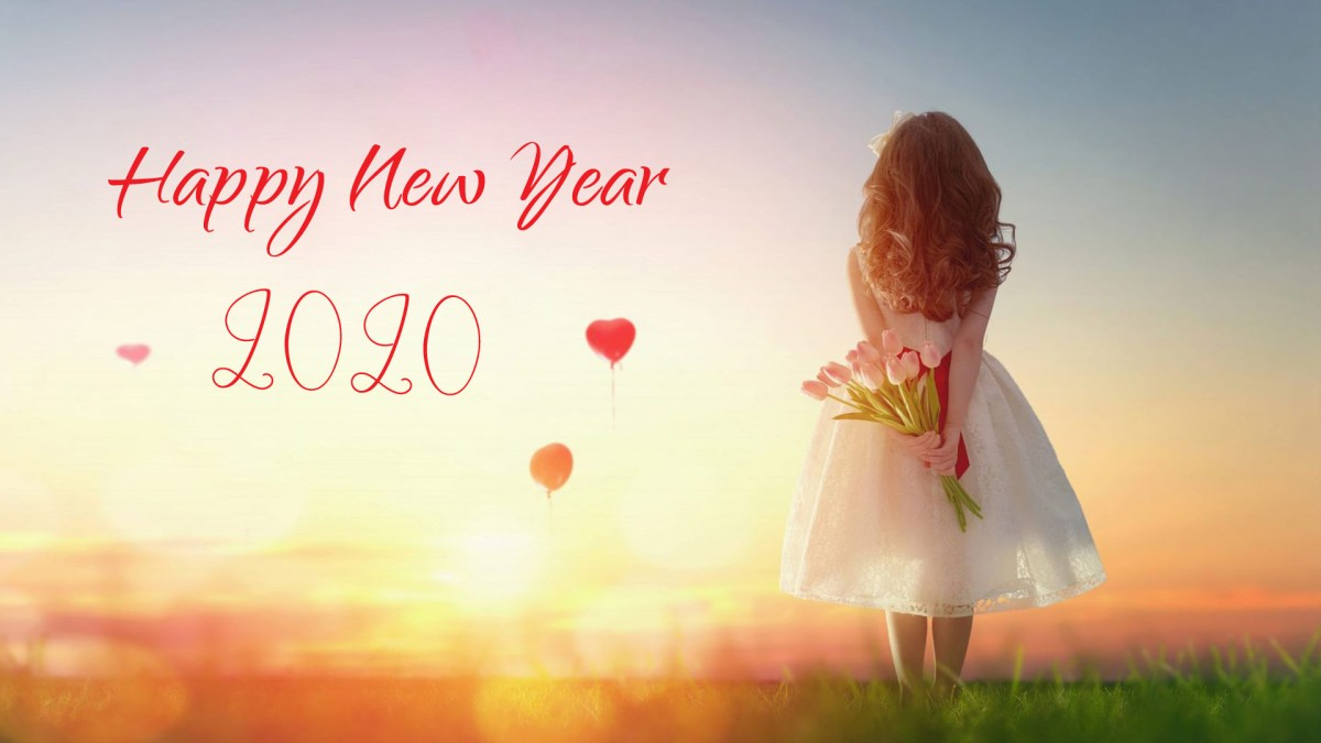 Alone Girl with Flowers New Year 2020 Wishes Wallpaper