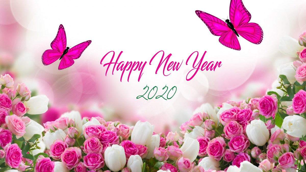 Happy New Year 2K20 HD Images with Pink Roses and Butterfly