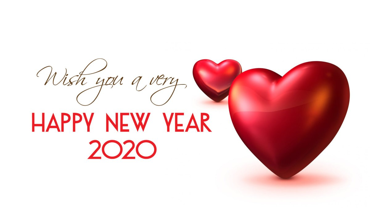Wish You a Very Happy New Year 2020 Love Heart Wallpaper
