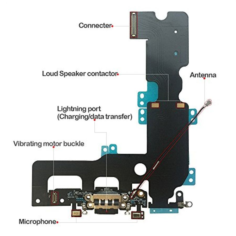 medium resolution of  usb lightning charging and headphone jack port dock connector mic flex cable cellular antenna