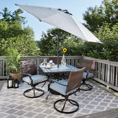 belmont 5 pc patio dining set 4 swivel cushioned chairs tile table top steel brown wicker
