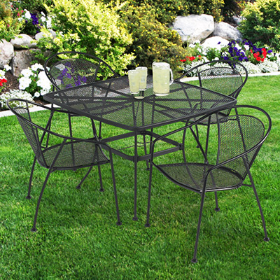 uptown 5 pc wrought iron look steel patio dining set