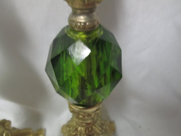 A Beautiful pair of Mid Century Green Lucite Candlestick holders