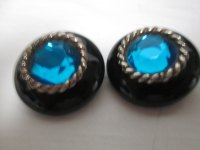Beautiful Large Blue glass Rhinestone Clip Earrings Black ...