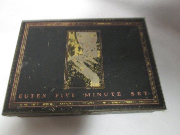 Antique Cutex Nail Five Minute Set Box Nail polish tin turn of the century metal box Art Deco Style Figurine