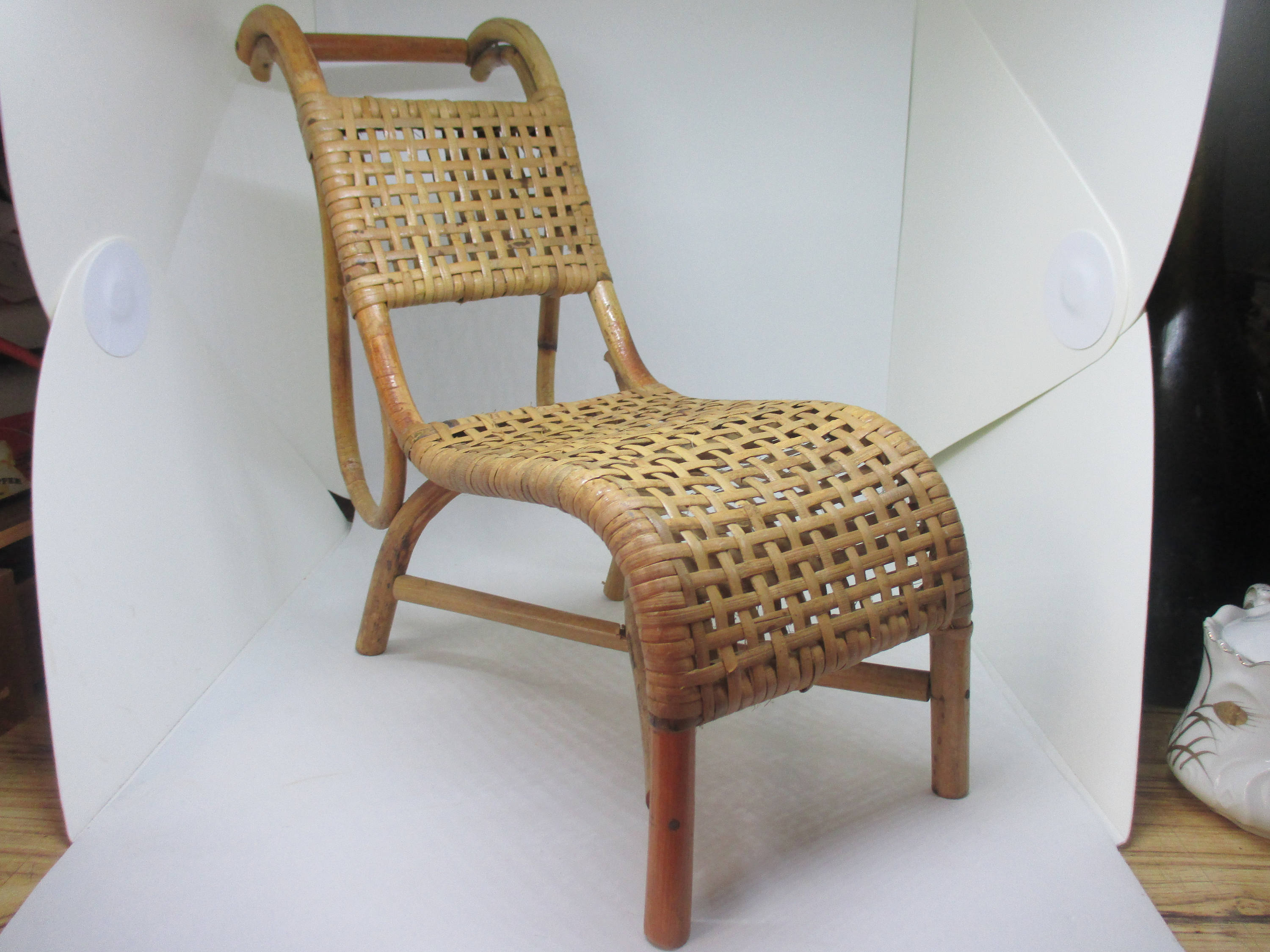 bamboo rattan chair stairs lift antique victorian wicker doll bear