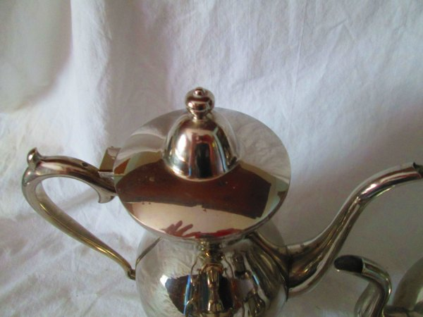 Beautiful Antique Silverplate Silver plate Tea, Coffee, Creamer and Sugar Marked only  LS on the bottom of each