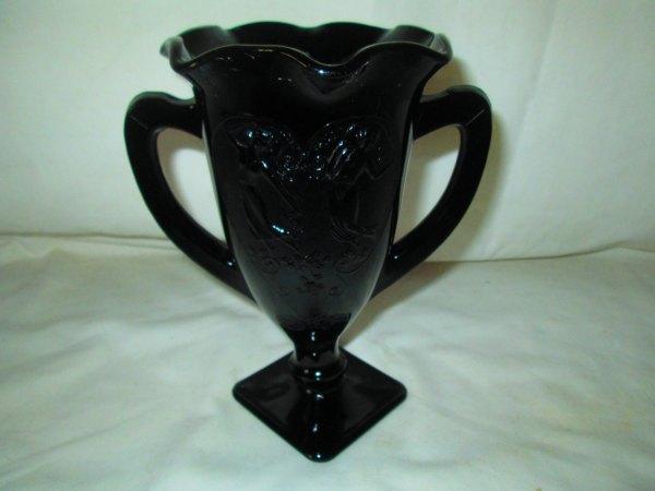 Vintage L E Smith Pan and Aphrodite Black Amethyst Glass