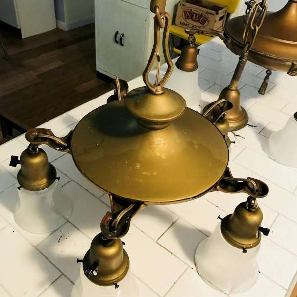 1920's Ceiling Light Fixture with original Glass Shades Brass bronze color Ornate deco trim Farmhouse Collectible display