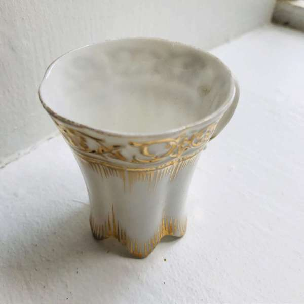 Antique Chocolate cup very fine china Limoges France Stunning Gold on white miniature small collectible bed and breakfast display bedroom