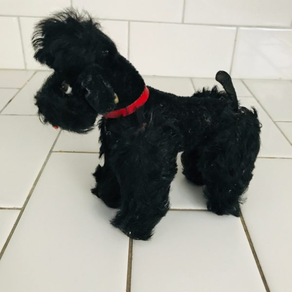 "Steiff Poodle Snobby Plush Black Animal 1940's Mini Mohair Sitting Standing 5"" with ear button & collar collectible display farmhouse"
