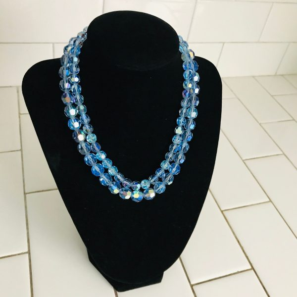 Vintage Necklace Periwinkle blue double Austrian cut crystals Beautiful Blue purple and pink silver adjustable closure stunning colors