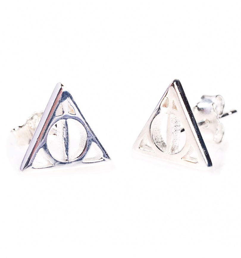Sterling Silver Harry Potter Deathly Hallows Stud Earrings