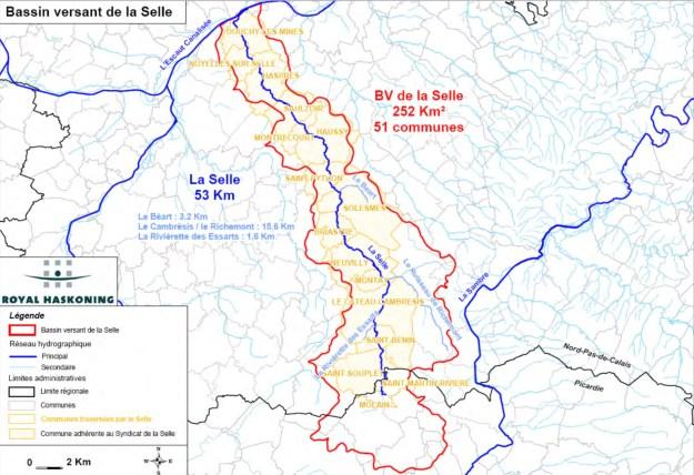 Bassin versant de la Selle (source Syndicat Mixte du Bassin de la Selle)