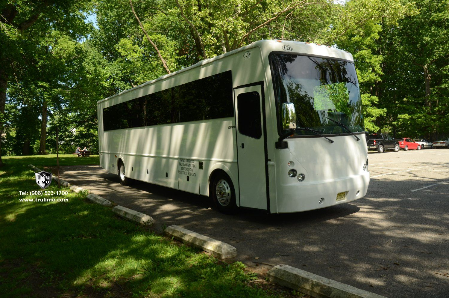42 Passenger Party Bus with lavatory and private room Exterior 3 » TRU LIMO