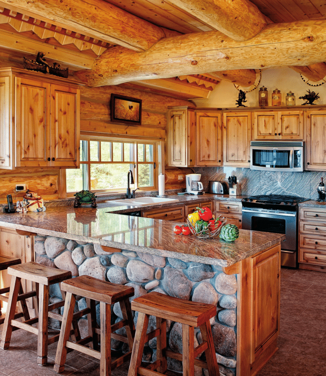 cabin kitchen decor colorful table 19 log home ideas 1