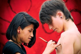 Juan David Fernandez, 16, of Bogotá, gets painted by a friend at a protest against the removal of Bogotá Mayor Gustavo Petro, who was ousted by Colombia's Inspector General in December last year. The dismissal of Petro has polarize Colombia and caused those on the political left to express fears for the future of democracy in the Andean nation.