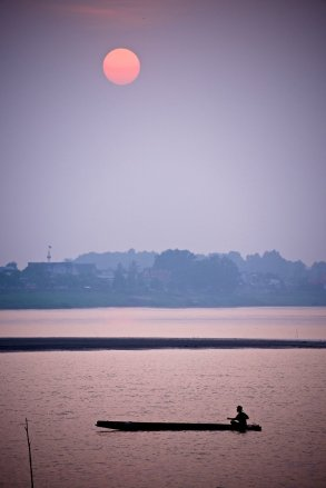 Evening on the Mekong, looking back to Thailand from Laos.
