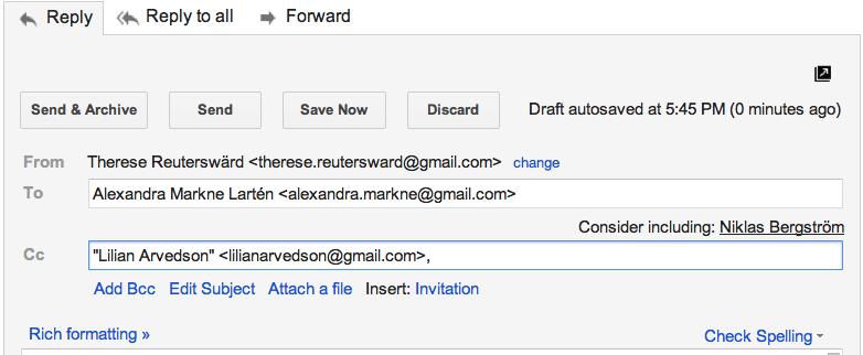Gmail föreslår mottagare
