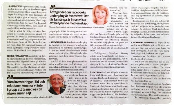 Intervju i Resumé om Facebooks framtid