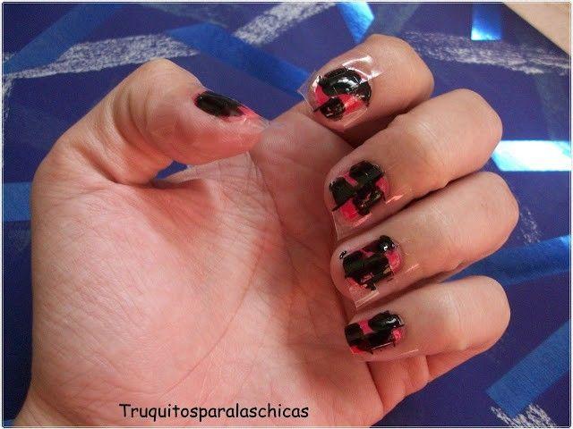 manicura negra y rosa