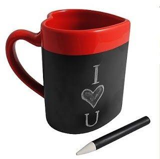 taza pizarra en forma de corazón