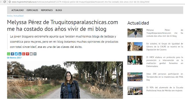 Entrevista truquitosparalaschicas en mujerextremadura