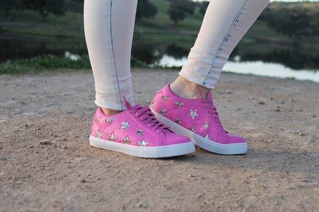 zapatillas rosas con estrellas de brillantina amazon