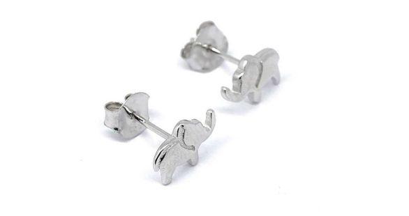 pendientes plata elefante
