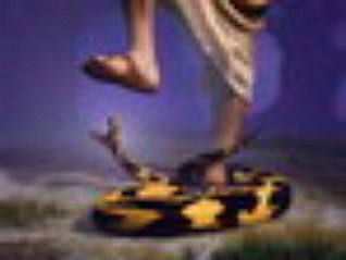 This image has an empty alt attribute; its file name is SERPENT-CRUSHED-BY-SANDAL-FOOT-OF-JESUS-LARGER.jpg