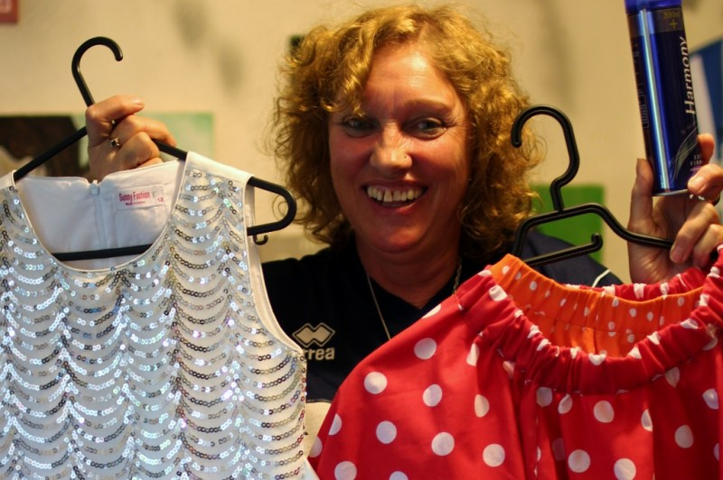 Tantrum's Sue Mechen showing off some of the dance outfits.
