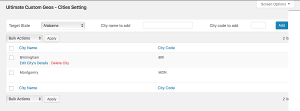 Add cities to woocommerce built in states