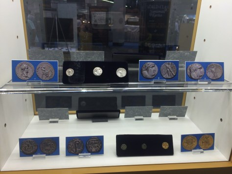 """Display of the famous biblical """"Tribute Penny"""" of emperor Tiberius, the Shekel of Tyre known as the 30 Pieces of Silver Judas betrayed Jesus for, Pontius Pilate the Roman ruler whom Christ was crucified under and the first Byzantine gold coin featuring Jesus Christ."""